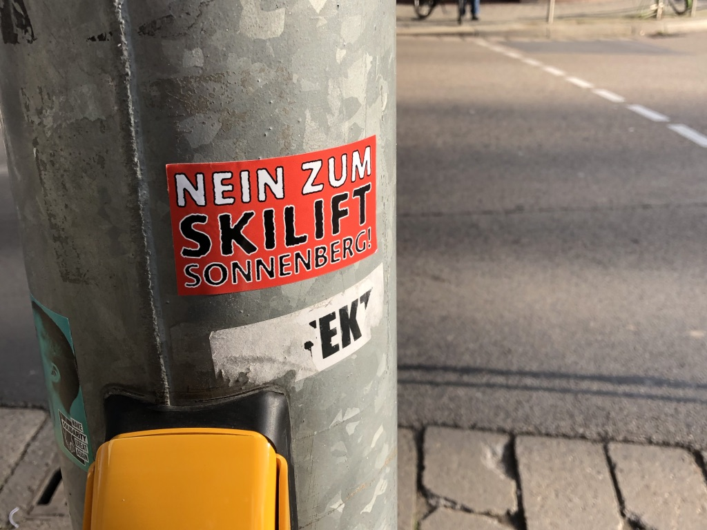 """No Ski Lift Sonnenberg"" sticker campaign"